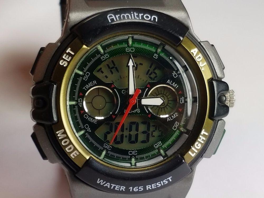 Armitron Mens Black & Green AnalogDigital Alarm Chrono
