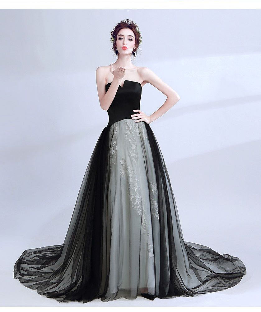 2017 new best-selling tutu black tube top tail wedding evening dress