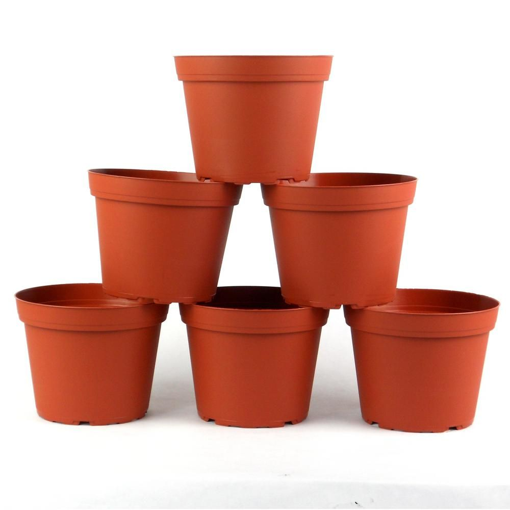 TEKU 6 in. Plastic Round Pot (6-Pack)-TO15DO606 | Plastic ... P Astic Plant Pots Home Depot on