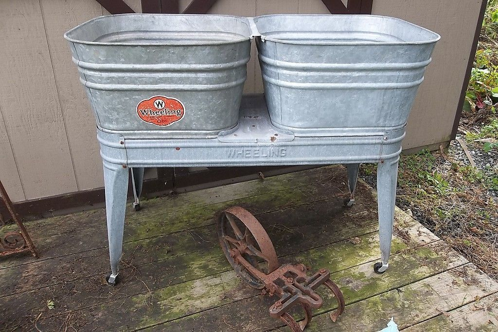 Vintage Galvanized Wheeling Double Wash Tubs And Wheeling Wash Stand Wash Tubs Wash Stand Metal Wash Tub