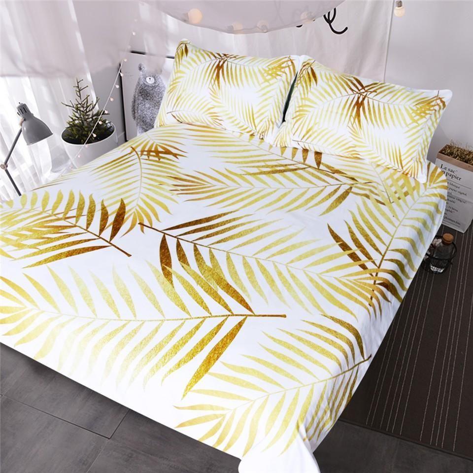 Modern Palm Leaf Bedding Set Tropical Floral Botanic Print