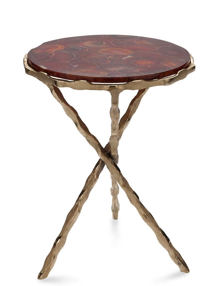 COFFEE RED Table, Top In Red Agate, Leg Pinched Rod Cross In Matt And Shinyu2026