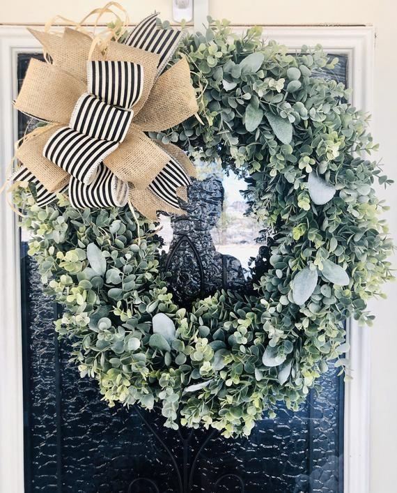 Photo of Farmhouse Wreath- -Eucalyptus Wreath- Lamb Ear Wreath- Front Door Wreath – Door decor- Everyday Wrea