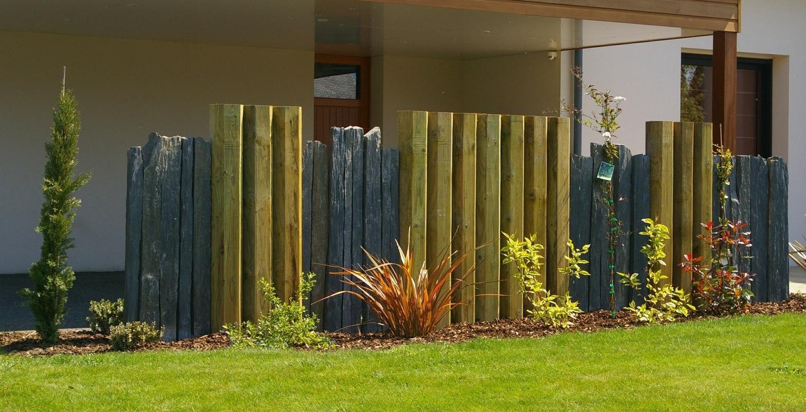 brise vue bois et schiste couric paysage tregunc jardin. Black Bedroom Furniture Sets. Home Design Ideas