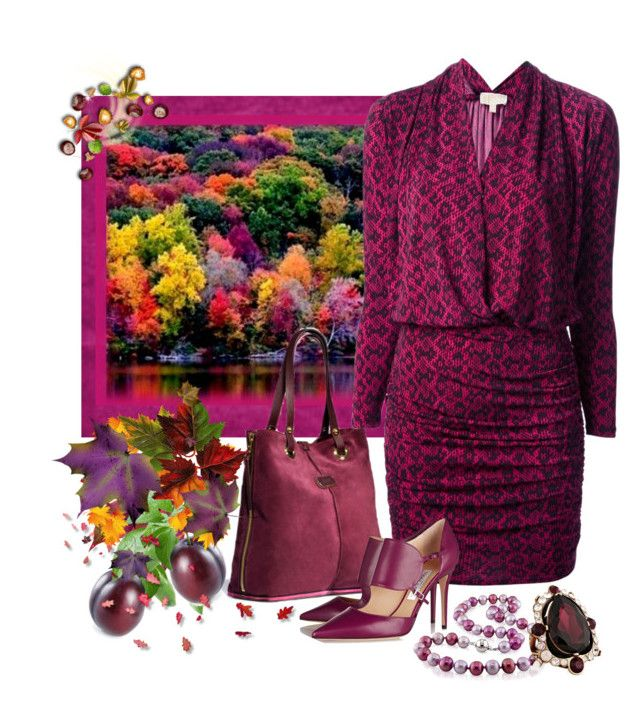 """""""Autumn Plum"""" by doilygirl ❤ liked on Polyvore featuring UGG Australia, MICHAEL Michael Kors, Jimmy Choo, Once Upon a Time and Oscar de la Renta"""