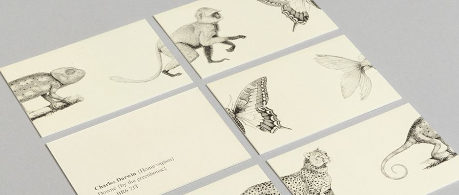 Moo famous stationary charles darwin detail business graphic design moo create stationery for host of historys most famous figures reheart Images