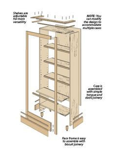 Built in bookshelf plans pdf google search woodworking for Build your own bookshelves plans