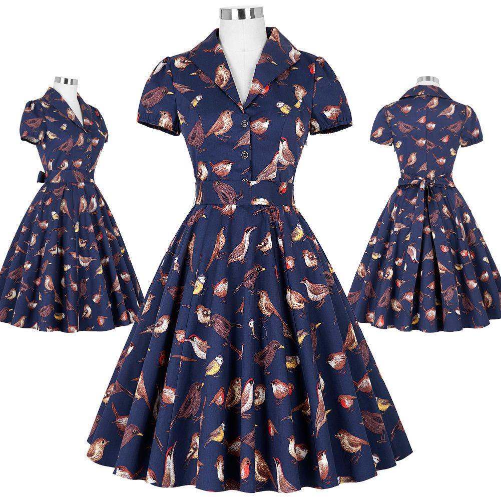 Women\'s Retro Vintage Evening Party Picnic Dress 50S 60S Swing Bird ...