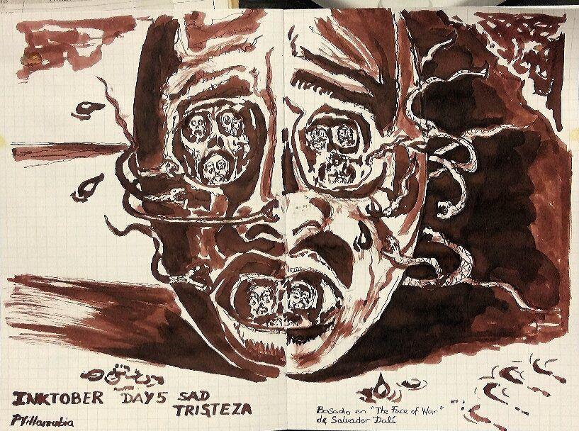 "https://flic.kr/p/MMNLo8 | ""Sad / Tristeza"". #inktober #inktober2016 Day5 | Basado en ""Face of War"" de Salvador Dalí."