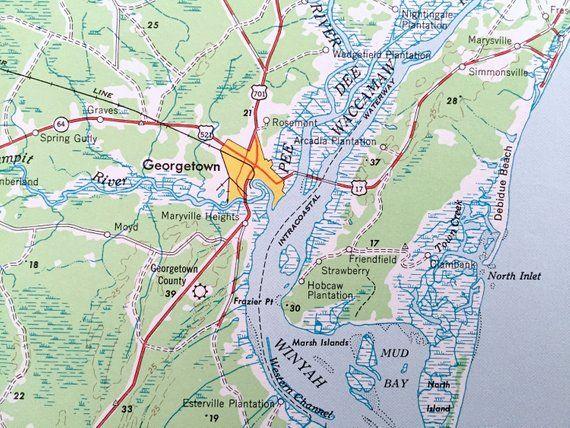 Antique Georgetown, South Carolina 1949 US Geological Survey ...