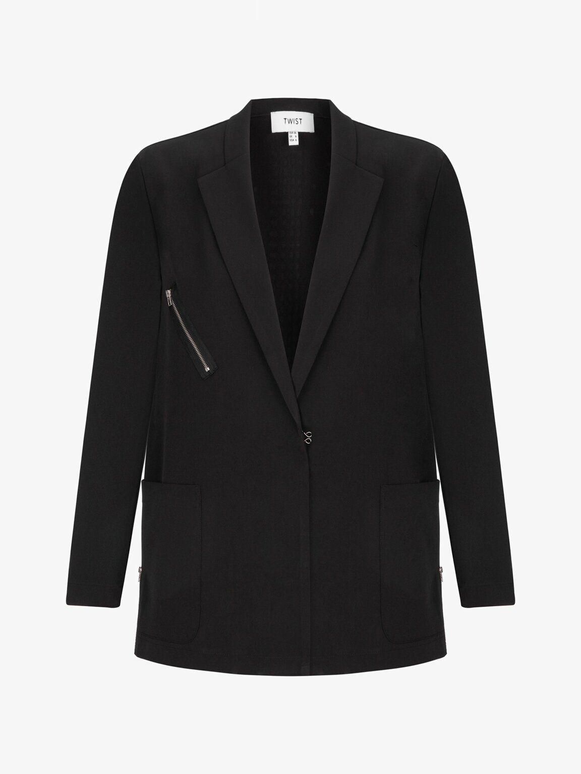 Siyah Arkasi Yildiz Form Tas Baskili Ceket Tw6190005035001 Twist 2020 Moda Stilleri Kot Ceket Kadin Ceketleri