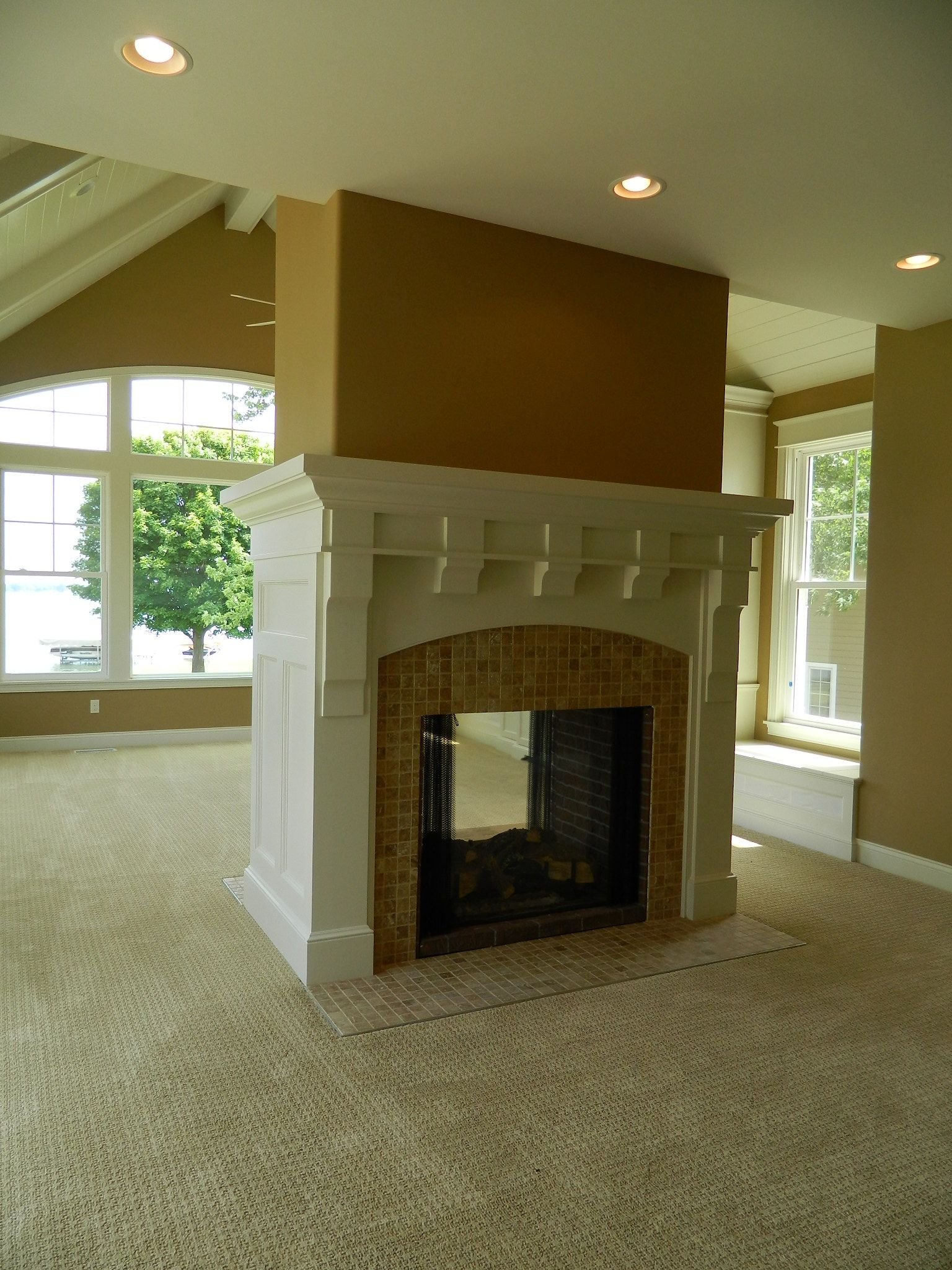 custom mantel two sided fireplace ceramic surround avbinc com