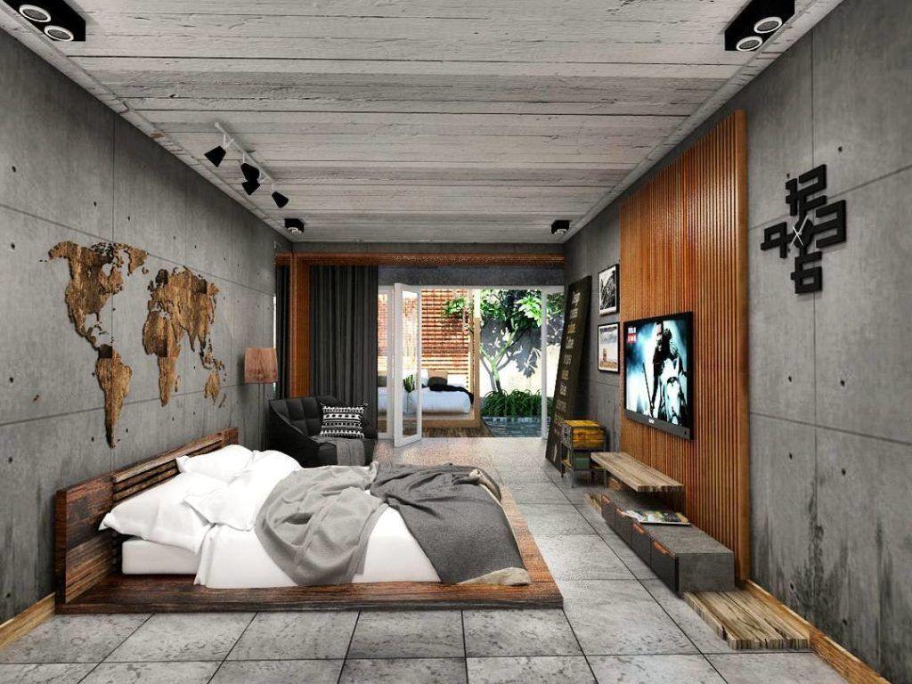 Solid Wood Decor With Concrete Wall And Map On It Industrial Bedroom Design Concrete Bedroom Industrial Bedroom