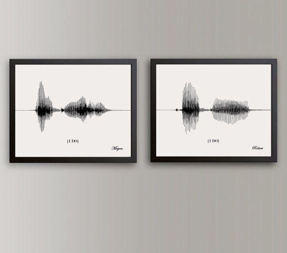 Papier-Jubiläumsgeschenk für Frau Sound Wave Art Hochzeit Gelübde Kunst gerahmt 1. Jahrestagsgeschenk für ihn