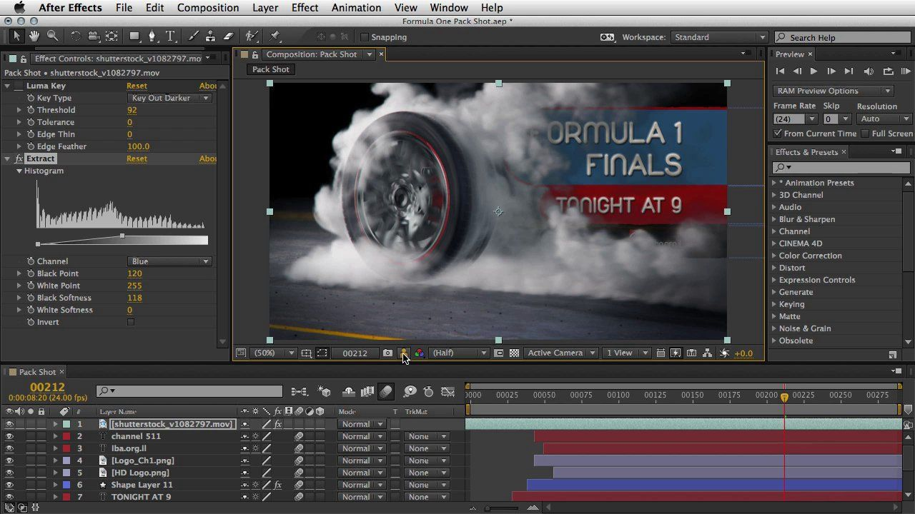 Extract Effect. The power of the Extract Effect inside Adobe After Effects, This effect creates transparency by keying out a specified brightness range, based on a histogram of a specified channel.