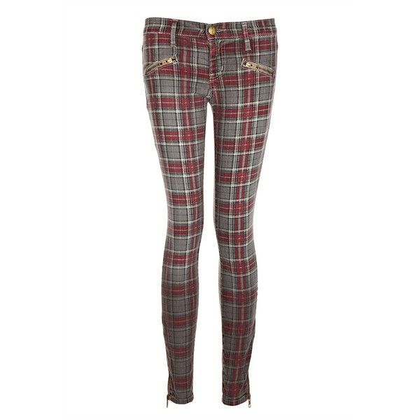 Current/Elliott The Soho Zip Stiletto Jean in Red Plaid (210 AUD) ❤ liked on Polyvore featuring jeans, pants, bottoms, current elliott jeans, super skinny jeans, mens jeans, skinny leg jeans and zipper skinny jeans