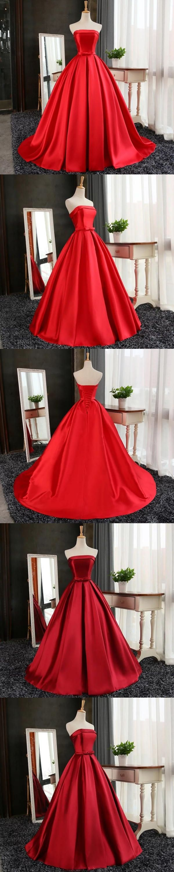 Cheap red prom dress ball gown sweepbrush train strapless prom