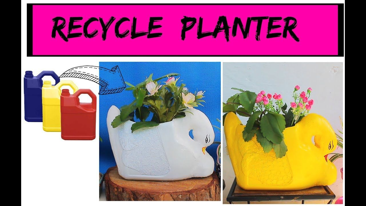 Garden decor craft ideas  DIY Duck Planter using Oil Can DIY Garden Decor  saksılar