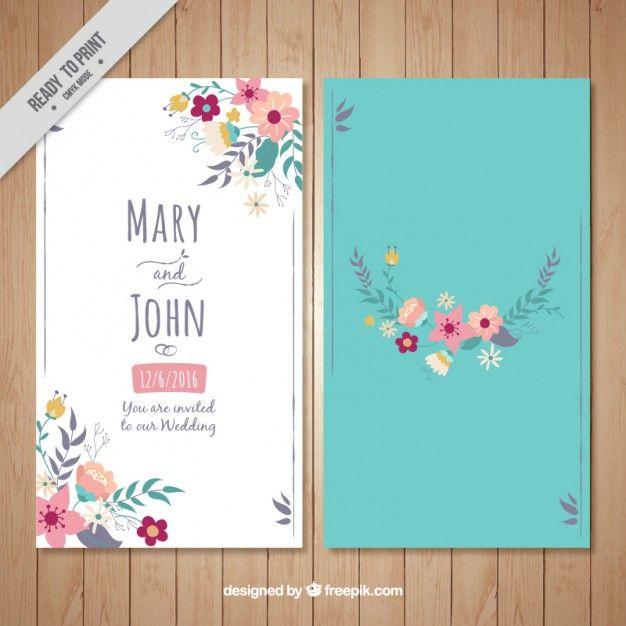 Cartão Floral Do Casamento Em Um Fundo De Turquesa | Wedding Card