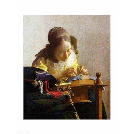 The Lacemaker Canvas Art - Johannes Vermeer (18 x 24)