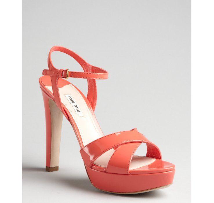 Miu Miu coral patent leather platform sandals