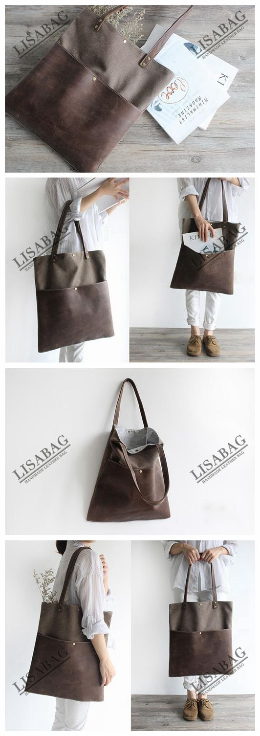 Handmade Waxed Canvas and Leather Tote Bag Women's Handbag School Bag 16006--LISABAG #zippertop