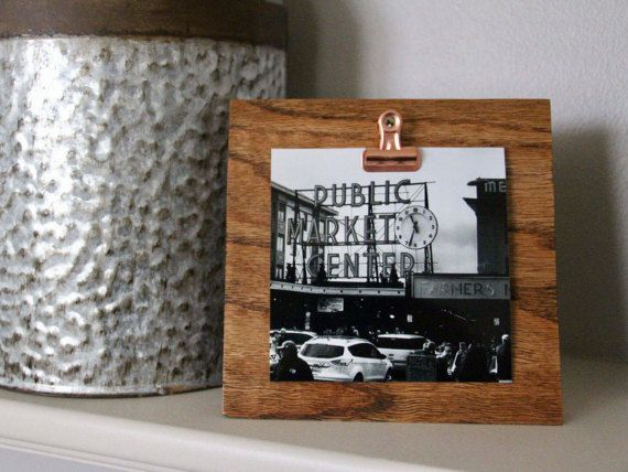 Hinge Clip Frame Wood Block Frame Photo Holder By Rustichouseco Clip Frame Picture On Wood Clip Picture Frame