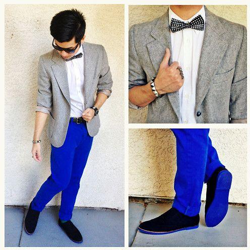 Men's fashion · Asos Chinos, Thrifted Blazer, Steve Madden Shoes