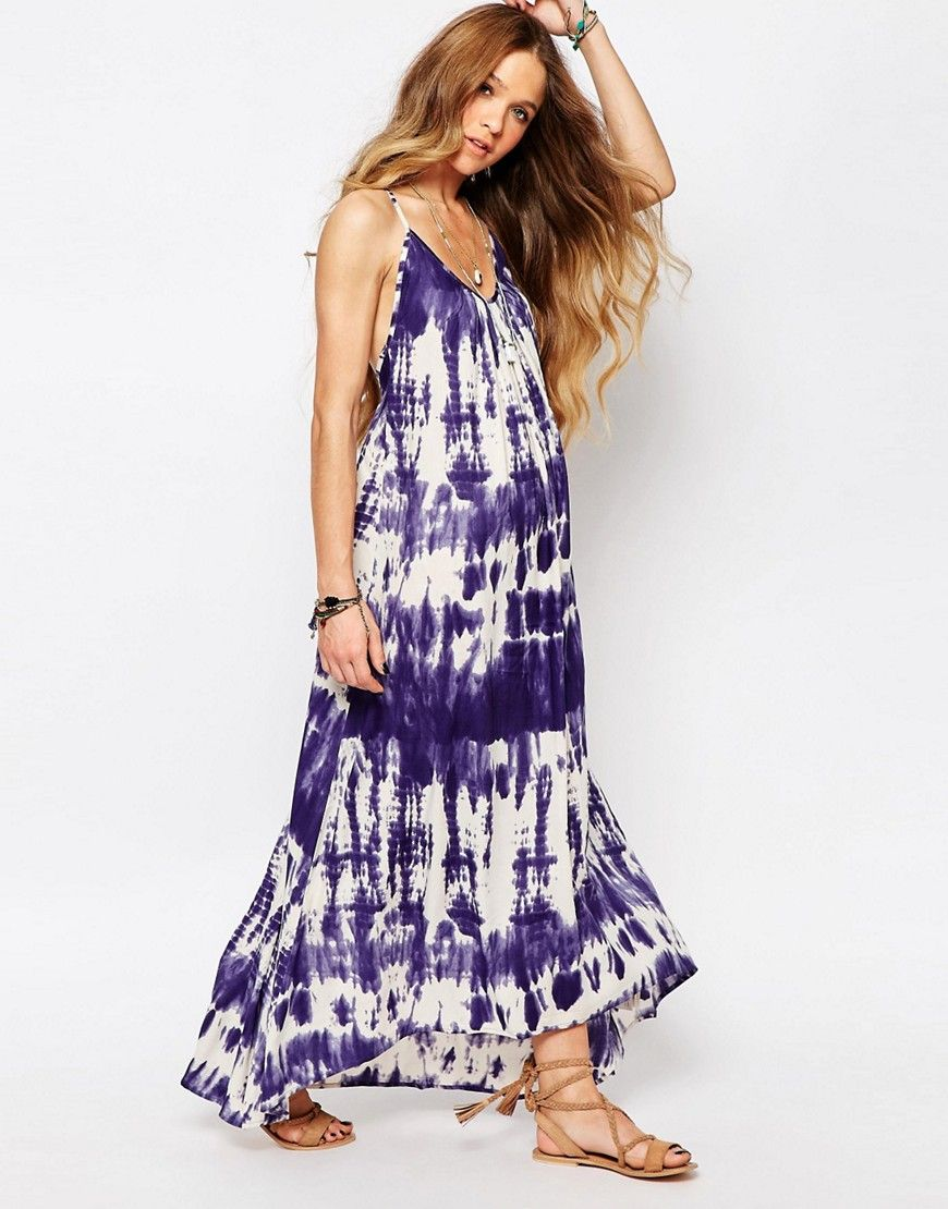 Image 4 of Billabong Silver Bloom Maxi Dress With Cross Back In Tie Dye