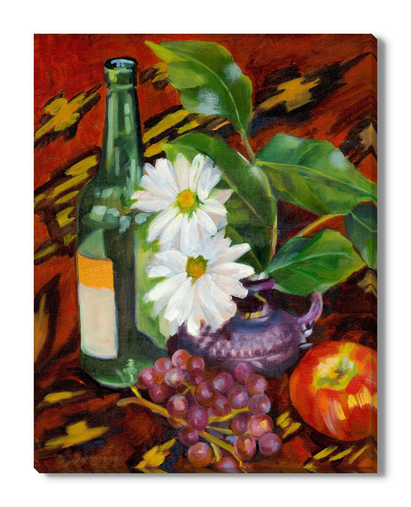 Late summer still life by maxine shore painting print on wrapped