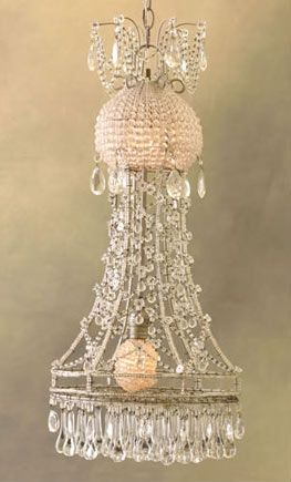 vintage pink and clear crystal chandelier