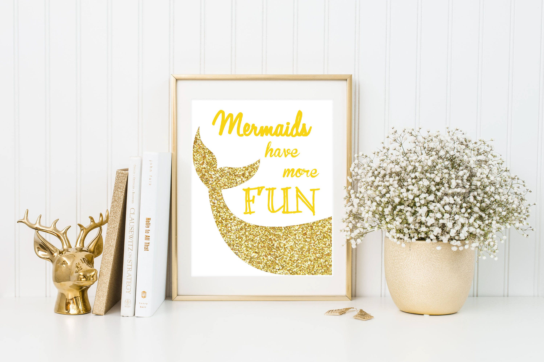 Glittery mermaid tail/mermaid gold printable/mermaid download/gold ...