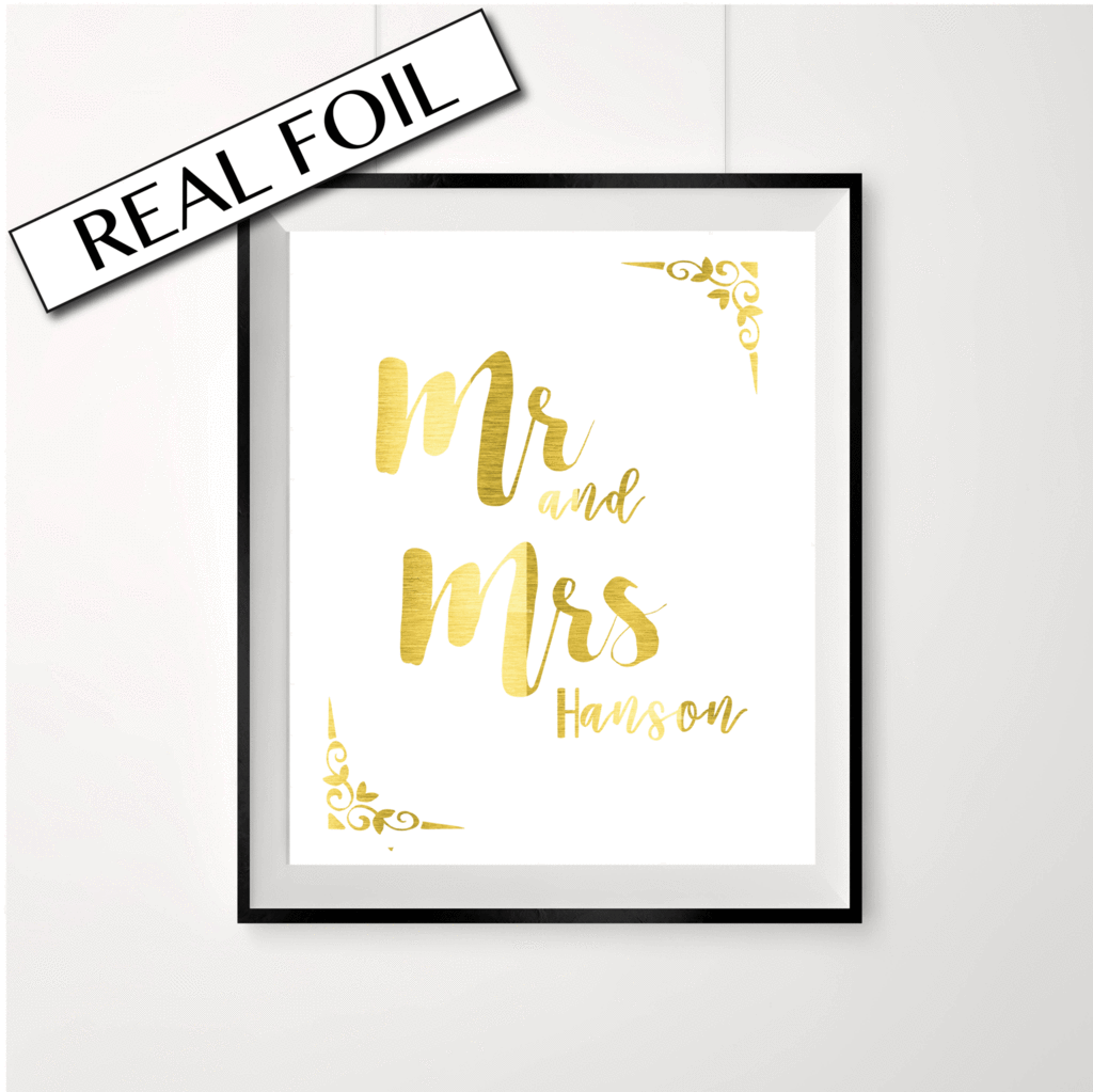Mr Mrs Wedding Print Customise This Gold With Your Newly Married Last