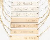 Sports Fan Bar Necklace, Personalized Superbowl Necklace, NFL Sports Team / 14k Gold Fill Bar Necklace / Silver, Gold & Rose Gold, LN101h