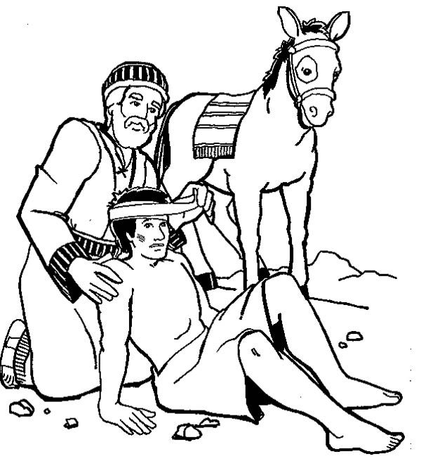 the Good Samaritan coloring page - Google Search | Bible coloring ...