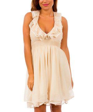 Another great find on #zulily! Beige Ruffle Halter Dress - Women by Apparel Deals #zulilyfinds