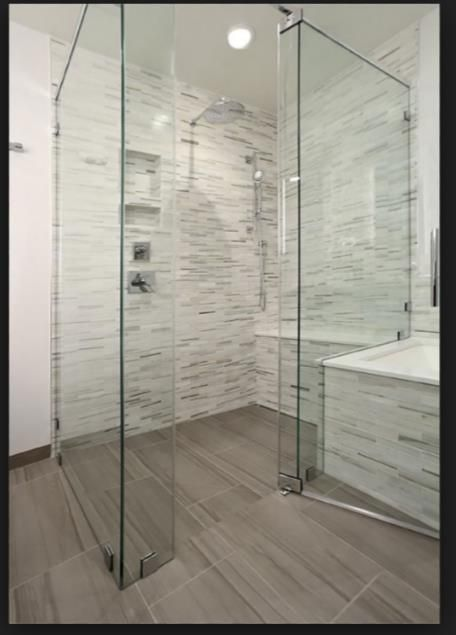 Master Bath With Just Shower pretty curbless shower with full bench. example only. really like
