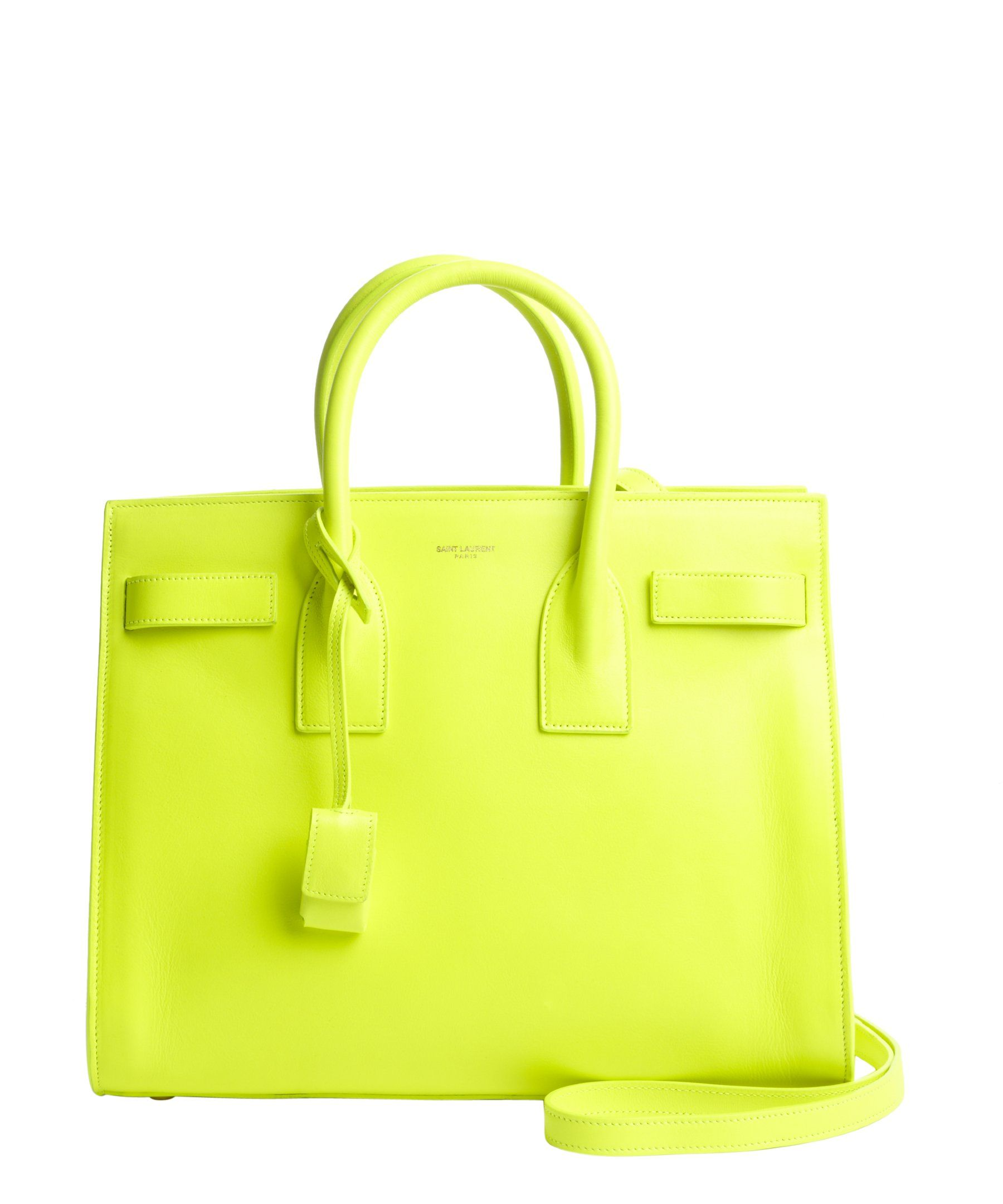 Saint Laurent neon yellow leather logo stamp convertible top handle tote | BLUEFLY up to 70% off designer brands