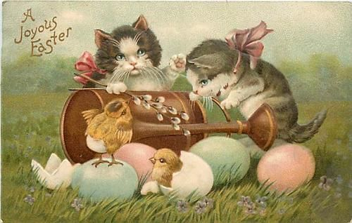 Easter Two Cats Wearing Ribbons Baby Chickens Hatching from Eggs K53487 | eBay
