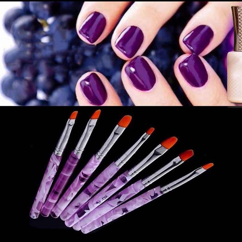 2015 Hot 7 Sizes Professional UV Gel Brush Nail Art Painting Draw ...