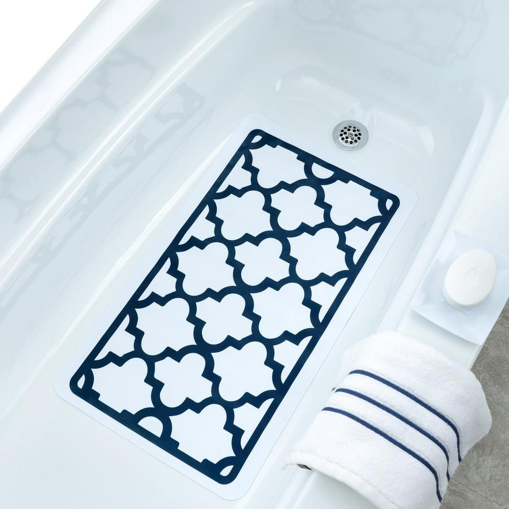 Slipx Solutions 15 5 In X 27 5 In White And Navy Moroccan Bath Mat 05912 1 Bath Bath Mat Small Bathroom Organization
