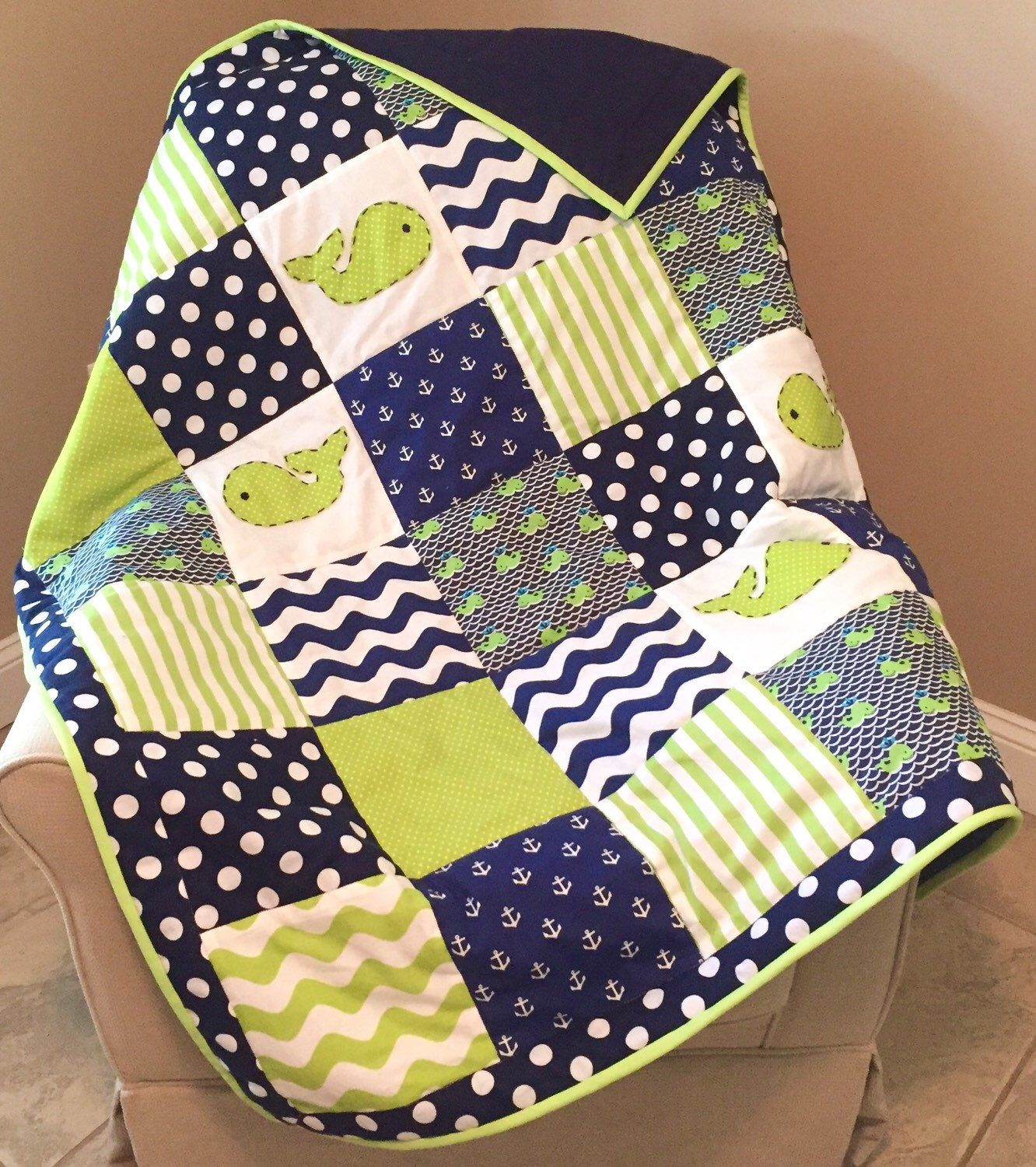Nautical Crib Quilt in Navy and Lime Green - Whale, Anchor, Polka ...