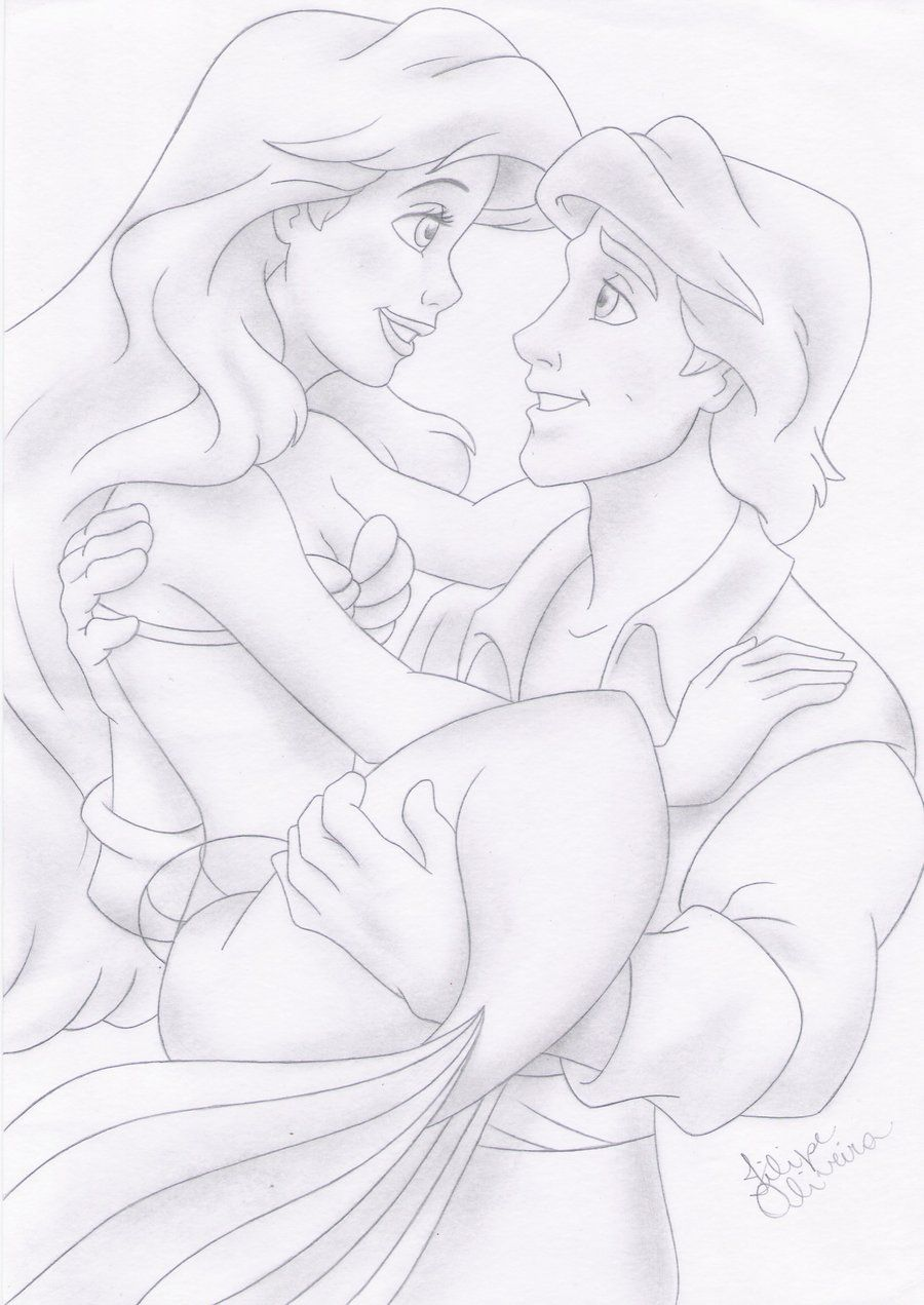 Ariel and eric disney by filipeoliveiraviantart on
