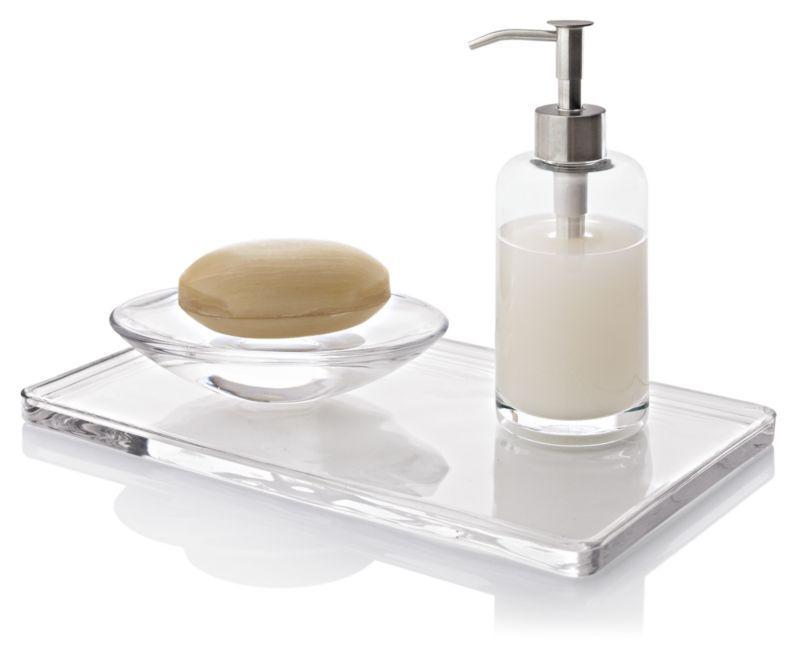 clear glass bathroom accessories. clear glass accessories bring clean, utilitarian design to the bath. clear, lead- bathroom m