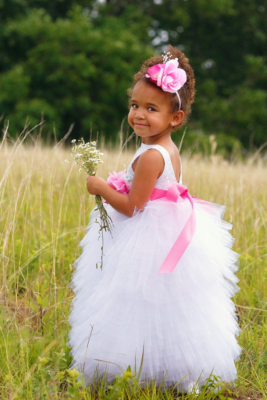 White flower girl dress toddler flower girl white wedding