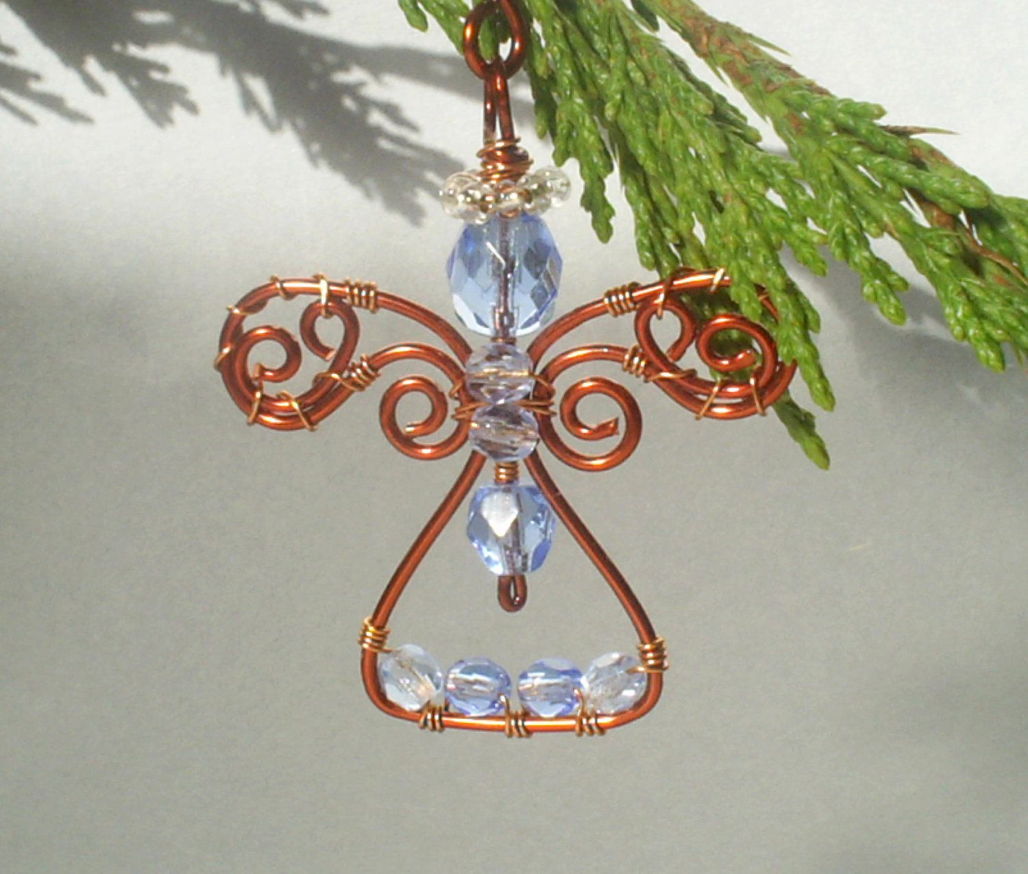 Blue guardian angel pendant or Christmas ornament copper enameled wire wrapped jewelry. $31.00, via Etsy.