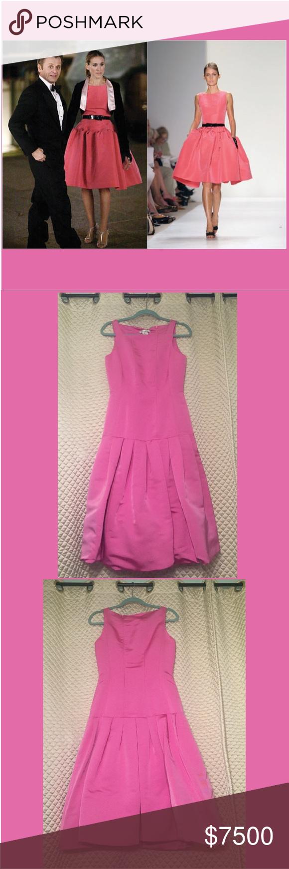 Oscar de la Renta NWT Pink Silk Faille Dress Sz 4