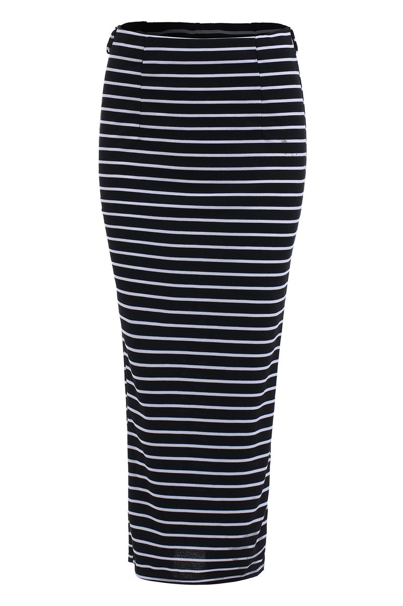 With Split Striped Black Skirt 9.90