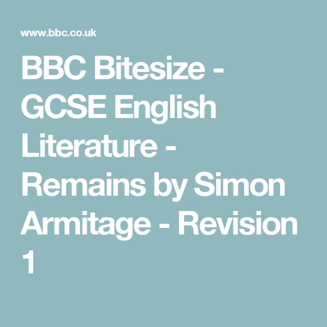 Bbc Bitesize Gcse English Literature Remains By Simon Armitage Revision 1 Gcse Drama Gcse English Literature English Literature