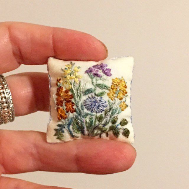 Miniature cushion Botany #miniaturedolls